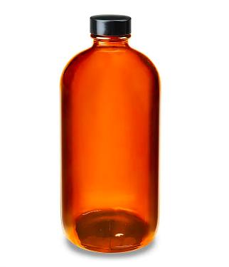 Amber Boston Round Glass Bottles Kombucha